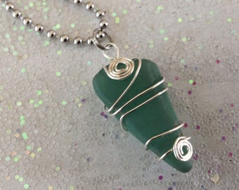 Sea Glass, Green Sea Glass Necklace, Wire-wrapped SeaGlass, Beach Glass, Nautical, Ocean, Beach, Stainless Necklace