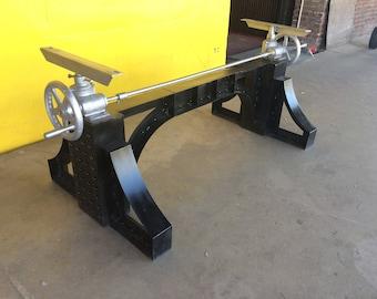 Wonderful Vintage Industrial Crank Table Base   Adjustable Table Legs Antique  Farmhouse Style