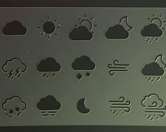 Bullet Journal Stencil - Weather Icons, Sun, Rain, Cloud, Bullet Journal Stencil or Planner Stencil