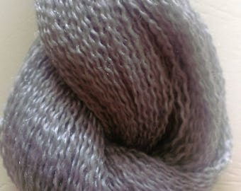 Silver Grey Fingering Weight Textured Yarn Skein (300meters) Mixed Fibre Content