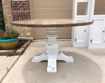 Restoration Hardware Inspired Round Trestle Dining Table