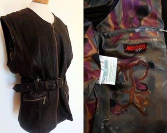 vintage leather vest // 80s biker vest // dark brown leather vest