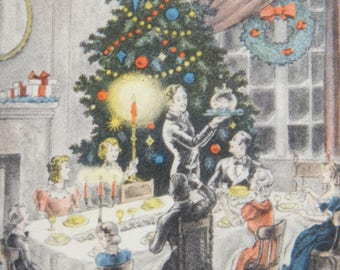 Early 1900's Christmas Greeting Card With a Color-Accented, Black and White Print of Family at the Holiday Dinner Table