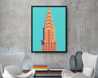 Chrysler Building New York Art Deco Vintage Minimal Architecture Poster Art Print