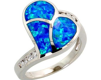 Sterling Silver Blue Opal Heart Statement Ring