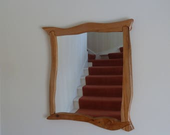 Handmade Sculpted Cedar Wood Mirror
