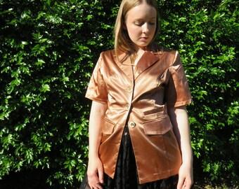 80s Liquid Copper Satin Blazer / Short Sleeve Jacket / Button Up Metallic Tailored Size 12 / Power Dressing Party Blazer