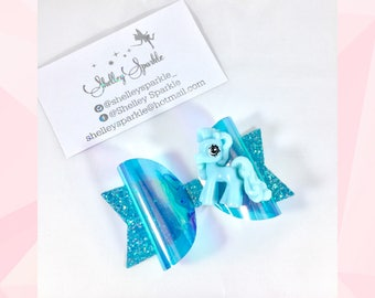 Blue pony hair bow for girls.