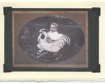 Ride Him: Vintage Easter Card - baby's first birthday card, Eostre card, Easter card, Ostara, antique baby photo, children's chicken rocker