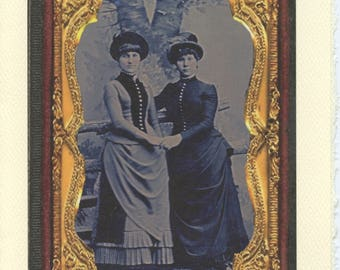 Victorian Amore: lesbian Mothers' day card, gay girlfriends, lesbian wives card, anniversary, gay wedding card, vintage lgbtq+ card, tintype