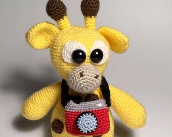 Crochet giraffe with camera-crocheted giraffe with camera