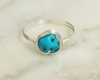 Silver Turquoise Gemstone Ring - Gemstone ring - Boho ring - Silver ring - Turquoise ring - Sterling silver ring