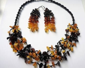 Natural Baltic amber necklace and earring