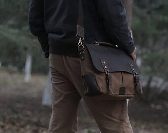 Brown Canvas Messenger bag with Strap/ Leather Shoulder Bag/ Leather Briefcase / Leather School Bag/ Leather Mens Bag/ Mens Gift
