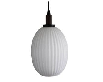 Scandinavian Teak & Milk Glass Pendant Light, 1960s - vintage pendant light - scandinavian design - mid century modern pendant light
