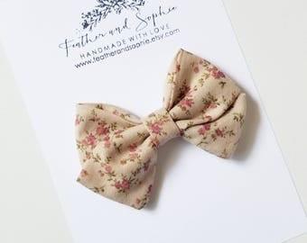 Khaki floral, fall, sailor bow, fabric bow, headband or clip.