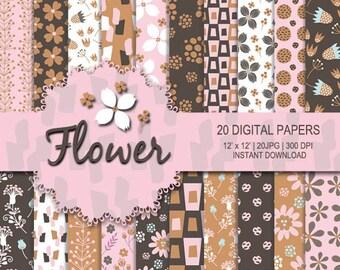 Flower digital paper, seamless pattern, pink, brown, bronze flower background, flower pattern, pink flower, floral pattern, floral paper