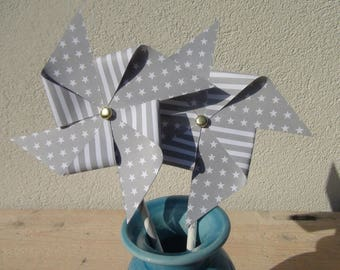 Set of 4 pinwheels on a straw Interior - grey stars - white - to decorate tables baptism