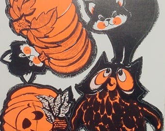 vintage halloween decorations diecut black cats jack o lantern pumpkin owl unpunched sheet retro haunted house - Halloween Vintage Decorations