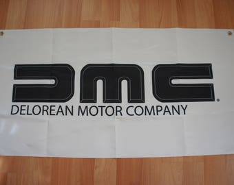 Back to the future Dmc 12 delorean motor company flag banner Collection fans Biff Tannen Marty McFly Doc Brown