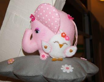 Felt mobile elephant pink