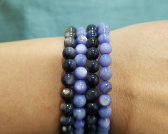 bracelet, 2 tone blue, wraps around wrist