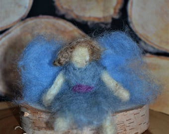 Blue small wool Waldorf inspired fairy