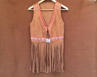 Vintage faux suede embroidered fringed vest
