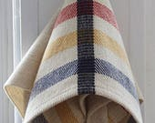 Handwoven Dishtowel Hand Towel Off White Hudson Bay Stripes Red Green Yellow Navy Hanging Kitchen Dish Hand Woven  Linen Cotton Twill Tab