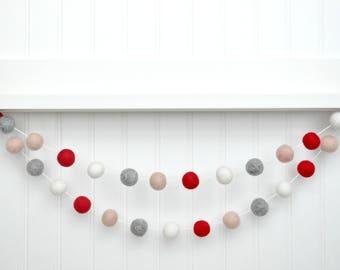 Felt Ball Garland, Valentines Pom Pom Garland, Valentines Felt Banner, Valentines Day Decor, Valentines Wall Hanging, Valentines Day Sign