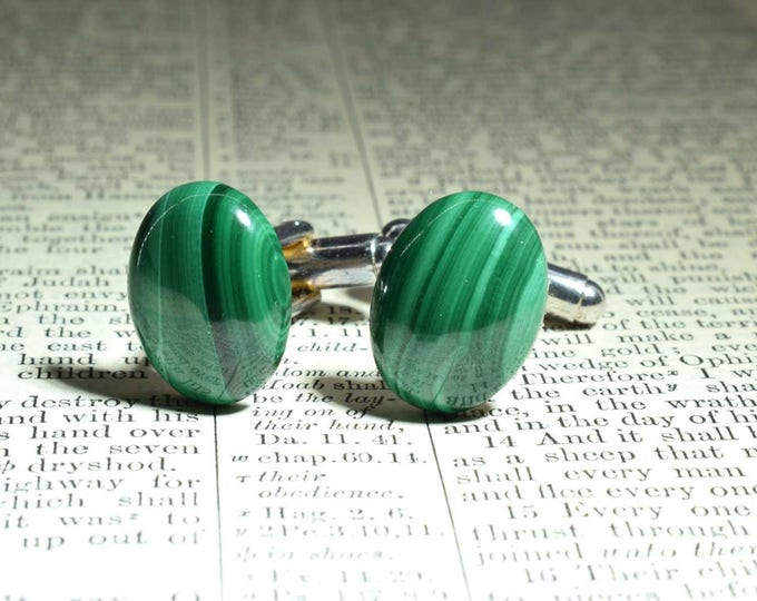 Oval Malachite Cufflinks, Gemstone Cufflinks, Green Cufflinks, Malachite, Silver Plated, Wedding Gift, Birthday Gift, Anniversary Gift