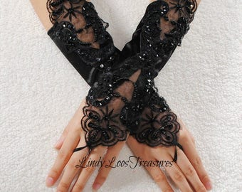 Black Bridal Fingerless Satin Lace Embroidered Gloves with Pearls, Satin Fingerless Wedding Gloves, Lace Bridal Gloves, Applique Gloves