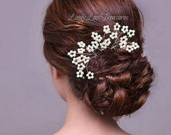 Faux Pearl Flowers on Silver Hairpins, Bridal, Wedding, Hair Accessories,  Pearl Hair Pins,Hair Pins