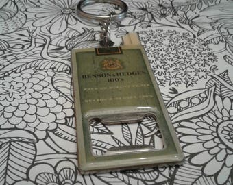 Vintage Retro Style Benson & Hedges Cigarette Pack Bottle Opener Keychain, Dead Stock