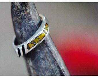 Stunning custom sterling silver yellow dinosaur bone inlay ring