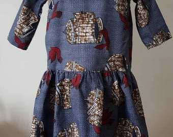 Wax sleeves dress 3/4 blue print and swallows
