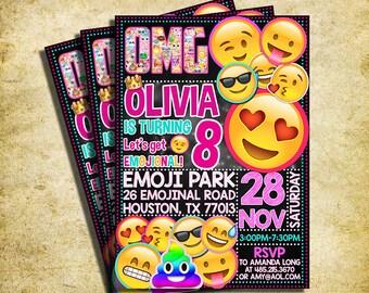 Rainbow Poop Emoji Invitation - Emoji Icons Chalkboard Birthday Party Invite - Printable And Digital File