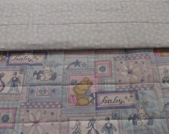 Teddy bear patchwork child quilt, baby quilt, toddler quilt, crib quilt, handmade quilt, nurseryblanket