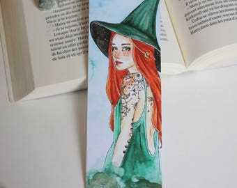 Bookmark Art print, witch, witch bookmark bookmark witches illustration drawing