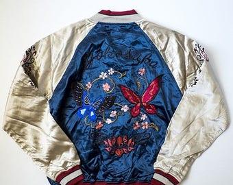 HOUSTON Vintage Japanaese Butterflies Cherry Blossoms Sakura Black Embroidery Design Art Sukajan Souvenir Bomber Jacket Size: M SK1598-M