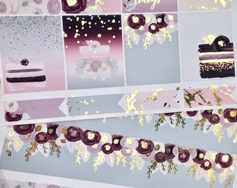 Cakes & Flowers Light Gold Foiled Erin Condren VERTICAL Weekly Decorative Sticker Set