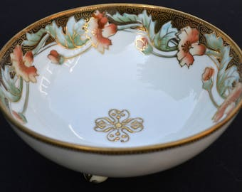 Hand-Painted Footed Porcelain Nippon Bowl - Candy Dish - Soap Dish - Nut Dish