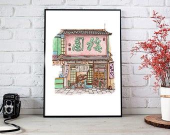 Watercolour Japanese shop print