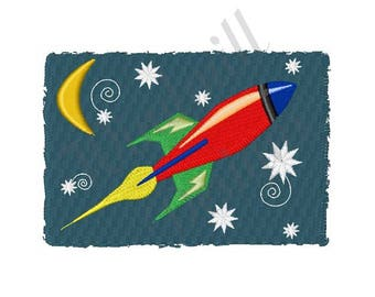 Rocket Ship - Machine Embroidery Design