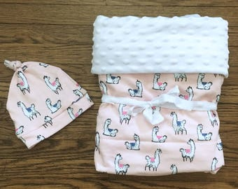 Llama Print Knit and Minky Baby Blanket with Matching Baby Beanie Knotted Hat, Pink, White, Feminine, Baby Girl, Baby Shower Gift Set