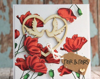 Wedding card full of poppies