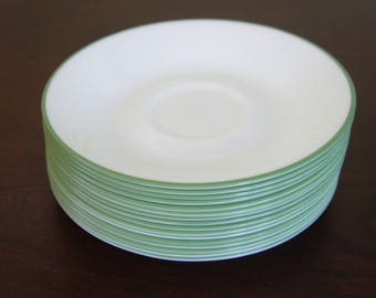 4 sets of 4 Green Edged Flat Cup Saucers by Corelle (Corning)
