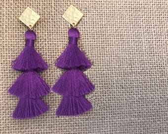 Purple and Gold LUXE 3-Tiered Silky Tassle Earrings with a hammered Gold Stud- Almond James LUXE