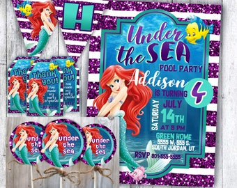 Under the sea The Little Mermaid party decorations & invitations, banner, cupcake toppers, favor tags, thank you cards, digital download