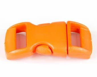 Set of 5 neon orange plastic clips for 10mm Paracord bracelet